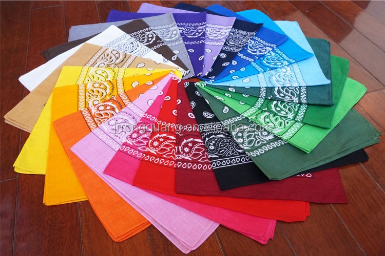 24 colors paisley stock bandana 100% cotton