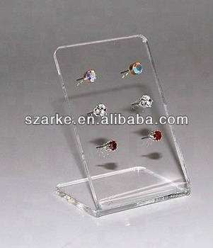 Clear Acrylic Earring Display Stand Jewellery 3 Pairs Stud Holder Rack