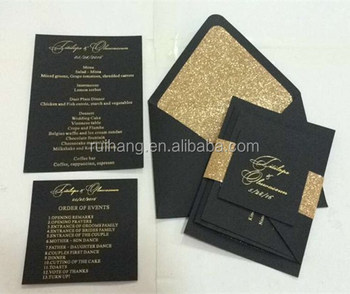 2018 Black Gold Hot Foil Black Cards For Wedding Invitations Card Buy Letterpress Wedding Invitations Card Event Decoration Supplies Black Card
