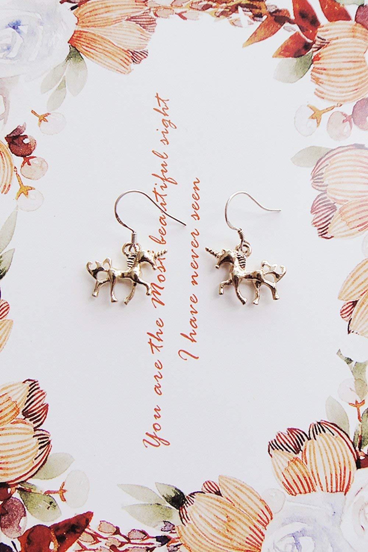 HJPRT department carousel long gold silver earrings earings dangler eardrop ear clip s925 silver women girls models (golden unicorn s925 sterling silver ear hook