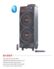 plastic front panel bluetooth battery double ten inch mp3 active stage dj speaker with built in amplifier,usb,sd,fm,rc(6100T)