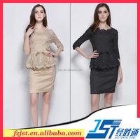 Mature elegant embroidery design fashion dress 2015 women clothing