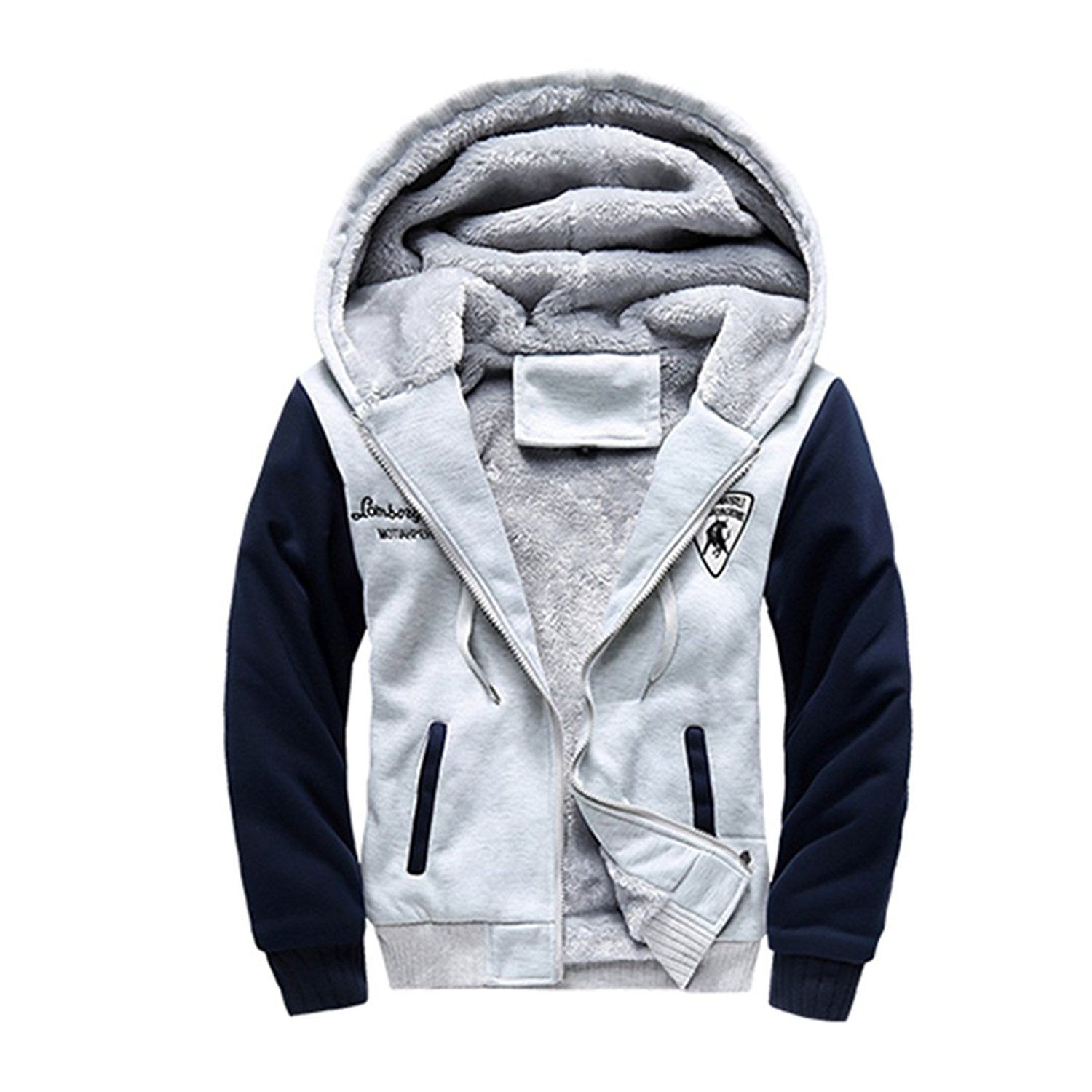 Pivaconis Mens Long Sleeve Zip Up Casual Faux Fur Lined Thicken Hooded Sweatshirt Jacket