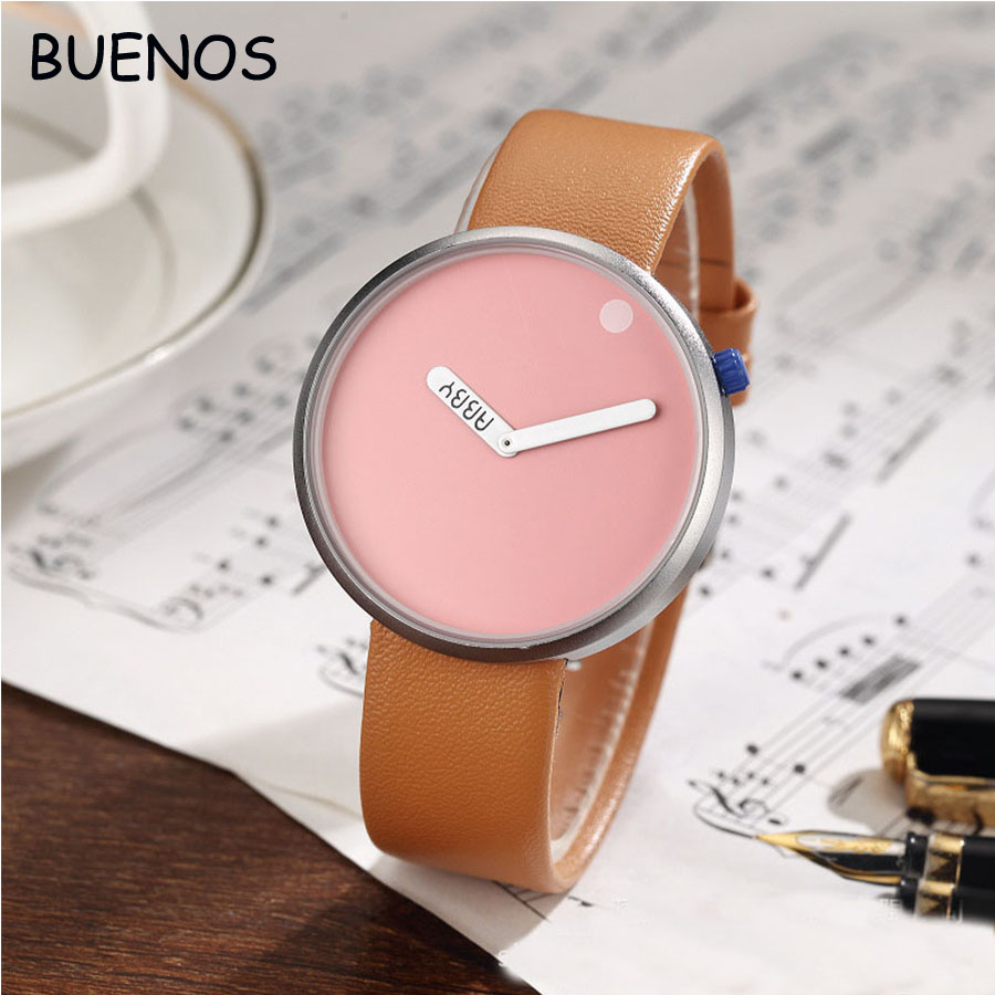 Fashion Creative Simple Men Concept Rotating Dial Leather Children Wrist Watches
