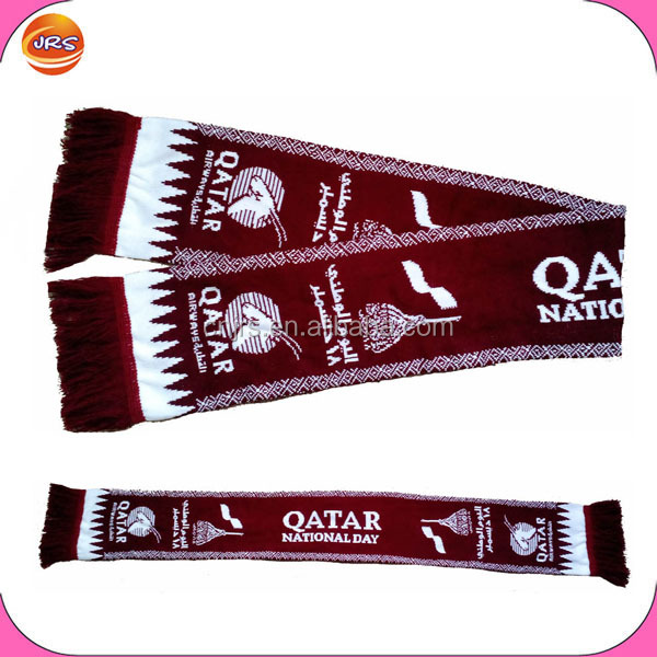 China scarf factory wholesale Qatar promotional scarf knitting national flag scarf