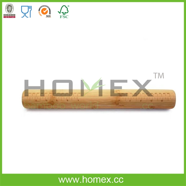 Bamboo Baker's Rolling Pin with Rulers/Homex_FSC/BSCI Factory