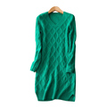Women s mini dress 100 cashmere knitted above knee with pure color plaid weaving