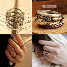 Cheap Jewerly New European Arrived Vintage Retro Style Charm Joint Finger Rings for Women wholesale Party Wedding Ring R449