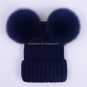 47a92ea9019 Warm cute toddler hats knitted beanie hats with top double ball Real  Raccoon fur pom pom