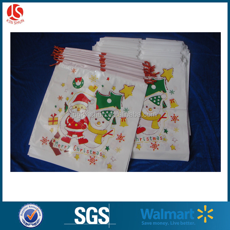 Most Popular Draw String Plastic Kids Gift Treat Bag For Christmas