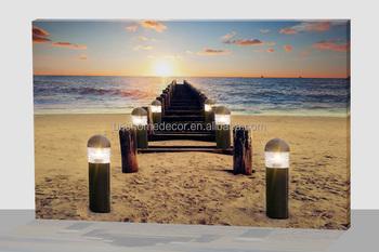 led led licht canvas kunst aan de muur natuur landschap licht fotos strand schilderij
