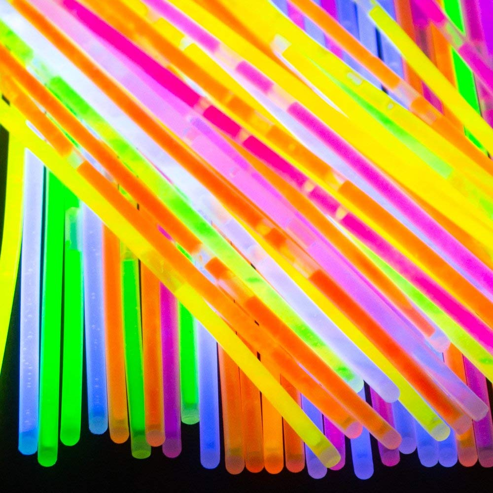 """Light Up Bulk Pack of 8"""" Party Glow Sticks – 100 Premium Glow in the Dark Light Sticks with 100 Connectors – Ideal for Birthday Party, Music Festivals, Birthdays, Weddings and More (40 Pack)"""