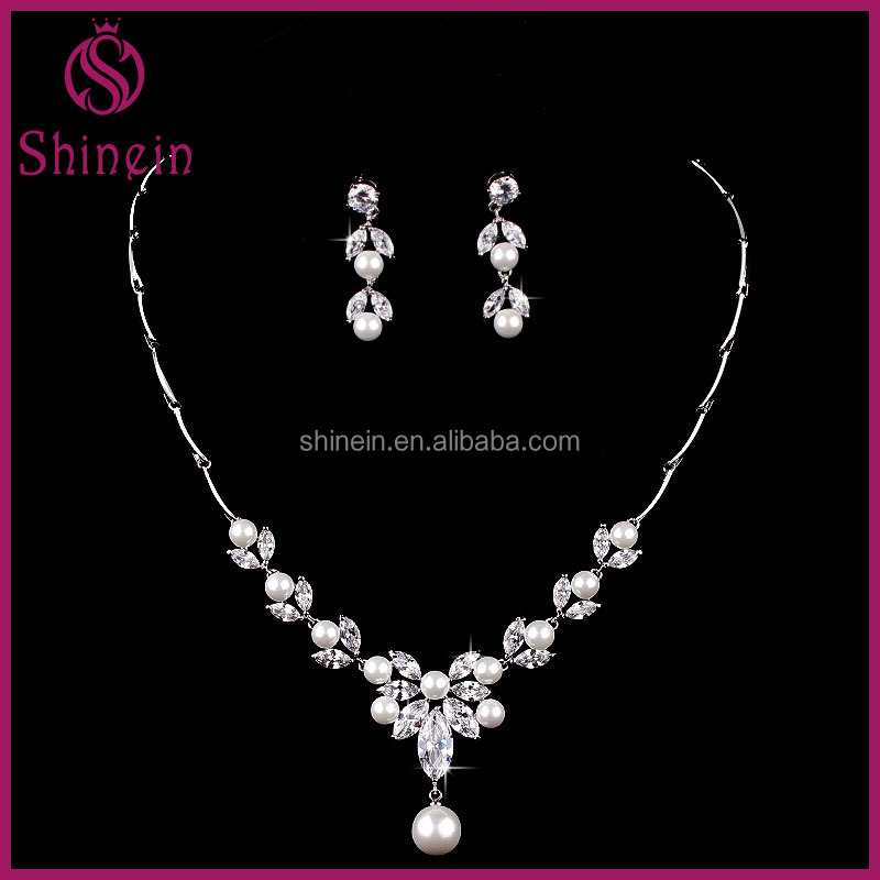 Wholesale aaa zircon jewelry sets peal necklace for party and wedding