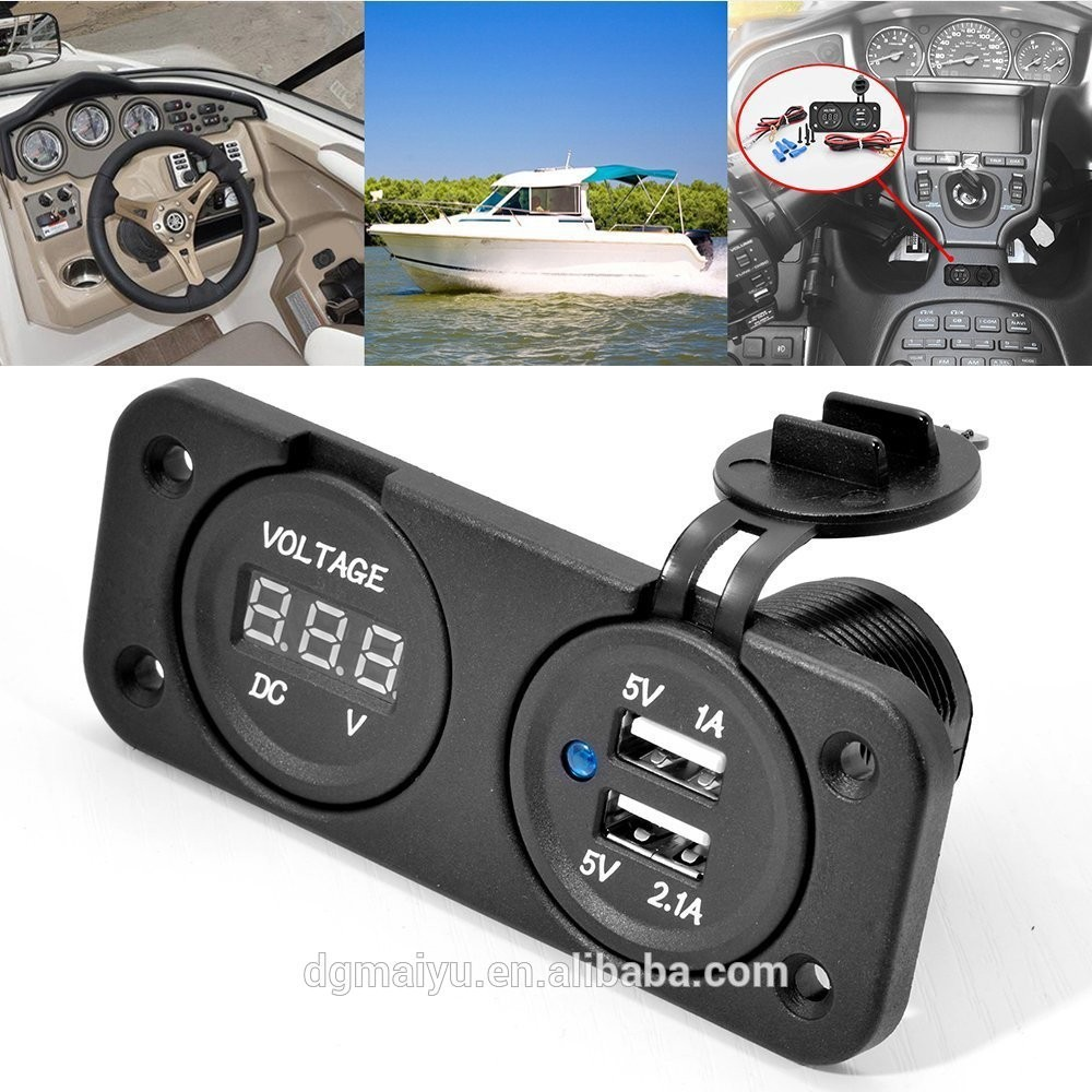 Output 5V 3.1A Dual Port USB with Voltmeter Sockets for Boat marine car motorcycle