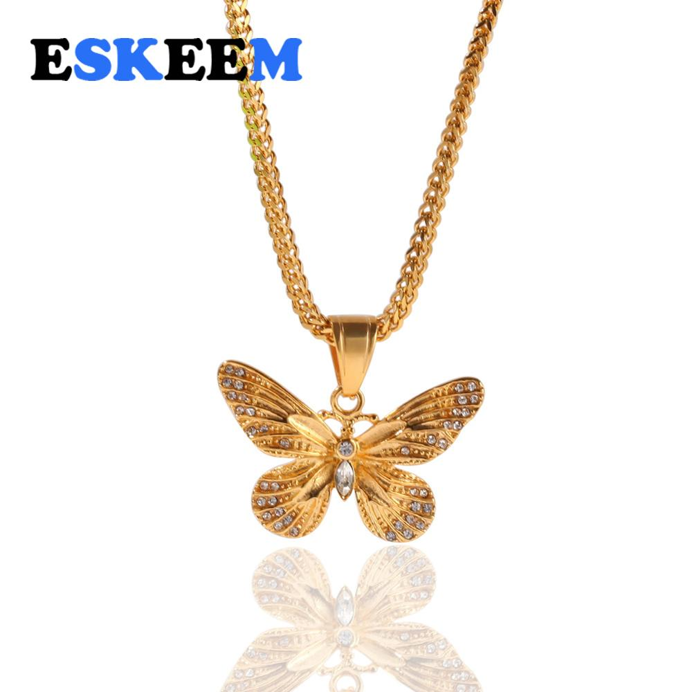 New Hot Selling Hiphip Jewelry Micro Pave Stainless Steel Diamond Gold Plated Butterfly Pendant Necklace Wholesale фото