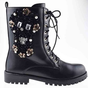 China wholesale leather boots black stitched flowers white diamonds with laced half boots women shoes