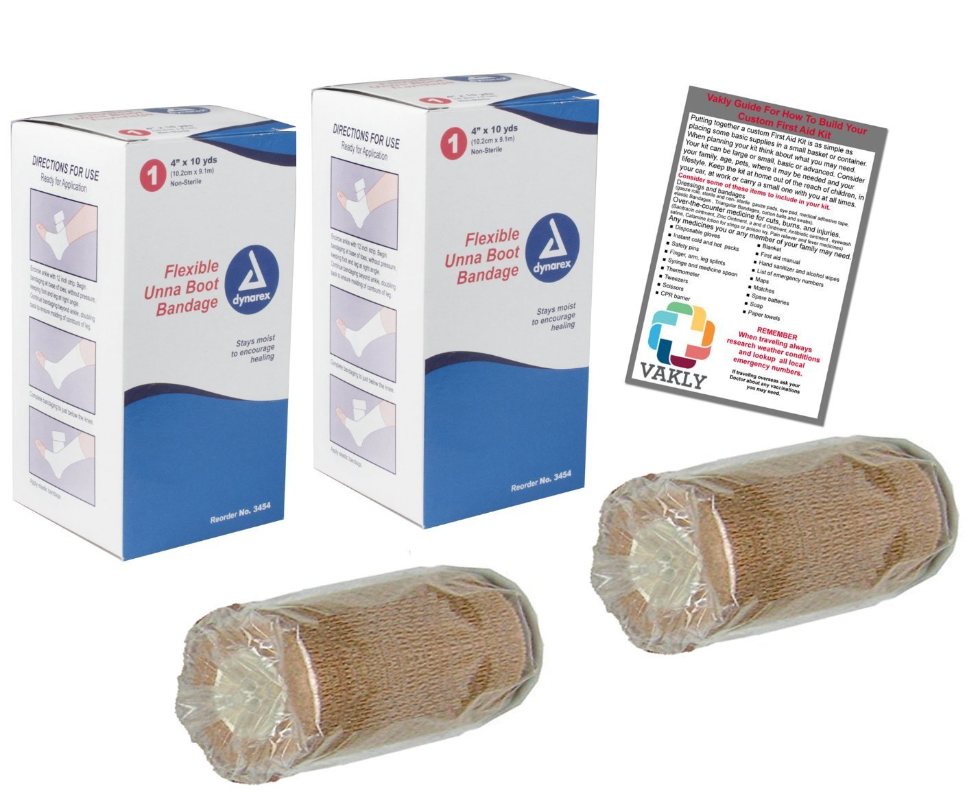 """4"""" Unna Boot Bandage with Zinc Oxide + Self Adhesive Wrap (2 of Each) + Vakly 1st Aid Kit Guide"""