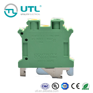 phoenix pcb screw terminal block Earthing DIN Rail Connector JUT1-10PE free samples worldwide