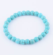 Dubai Handmade Men-Women 8mm Blue Turquoise Round Beads Elasticity Bracelets Fashion Jewelry