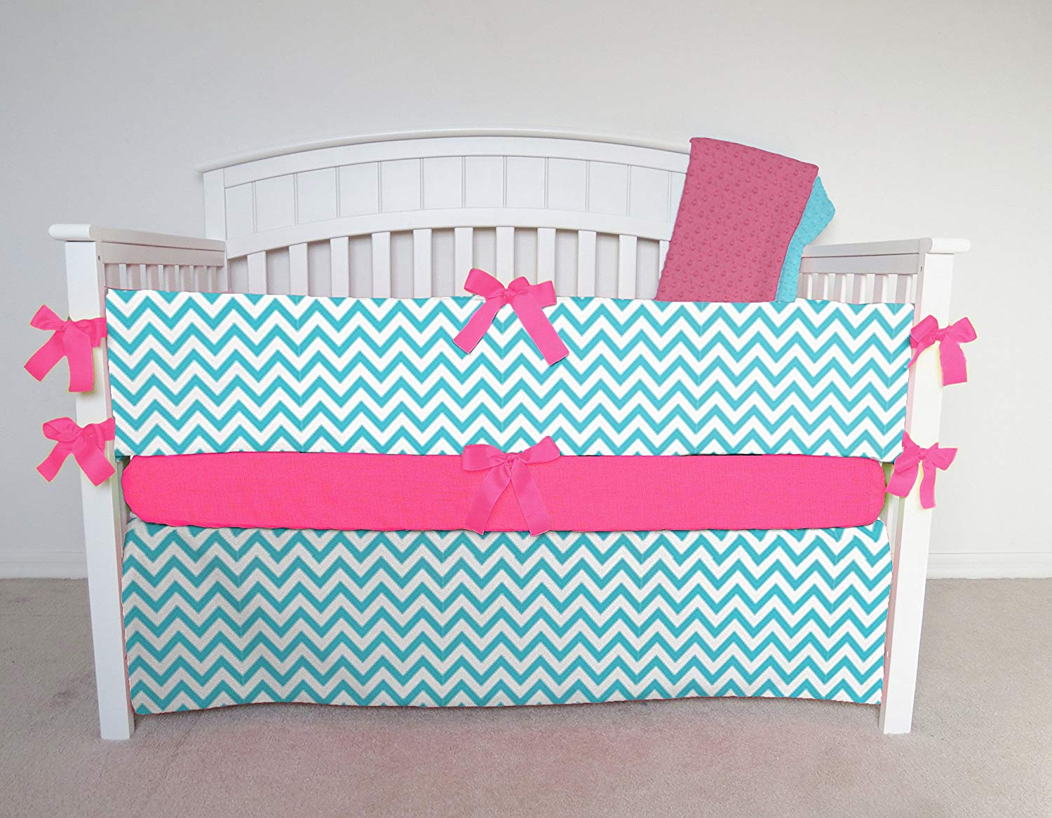 4 Piece Crib Set - aqua chevron crib bedding, aqua chevron, aqua zig zag, blue chevron crib bedding, blue chevron, blue zig zag