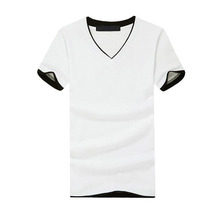 Wholesale Black and white and double color unisex cotton v neck t shirt