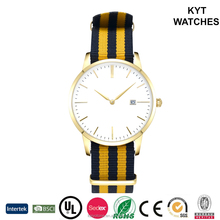 Hot Novelty gold color Gent stainless steel sports watch with nylon strap 3 hands with date function