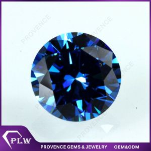 Wholesale Price AAA Round Brilliant Cut Blue Cubic Zircon Stone