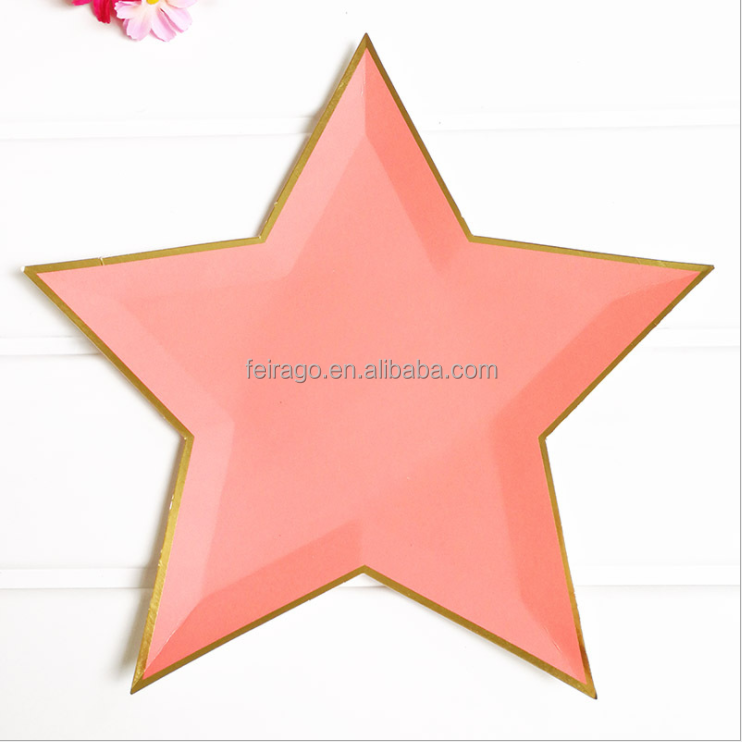 Disposable eco-friendly party ware gold star paper plate for wedding,birthday,anytime your need party