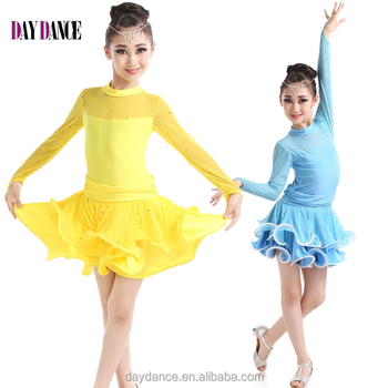 Kids Long Sleeve Skirts Sequin Sexy Latin Dance Dress - Buy Girls ... 880607377486