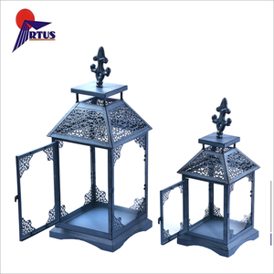 Good quality metal wrought iron garden standing candle holders wedding windproof blue lantern