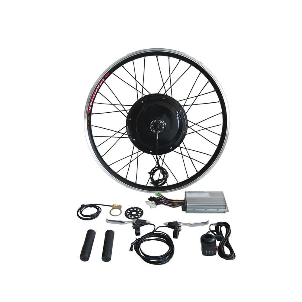 Complete kit! Factory supply high torque brushless gearless hub motor wheel 48v 1000w electric bike kit, Black