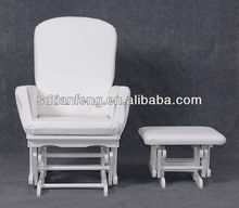 2015 New Comfortable Popular Modern White PU Wooden Glider Chair Ottoman