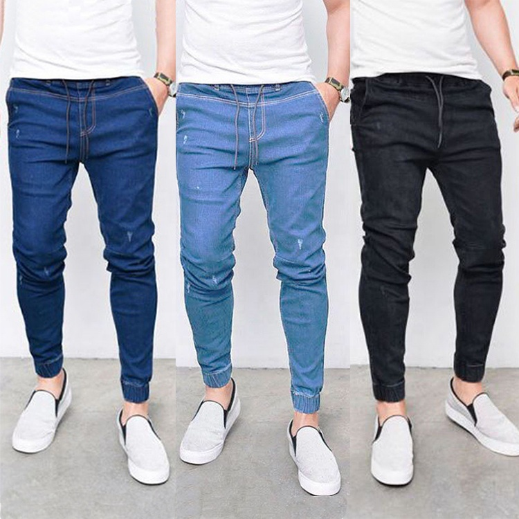 Straight Elastic Denim Pants Jeans Skinny Trousers Men Fashion Pants