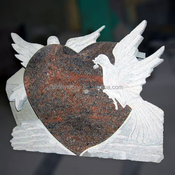 Heart Shaped Tombstone Carved Dove Headstone With Birds