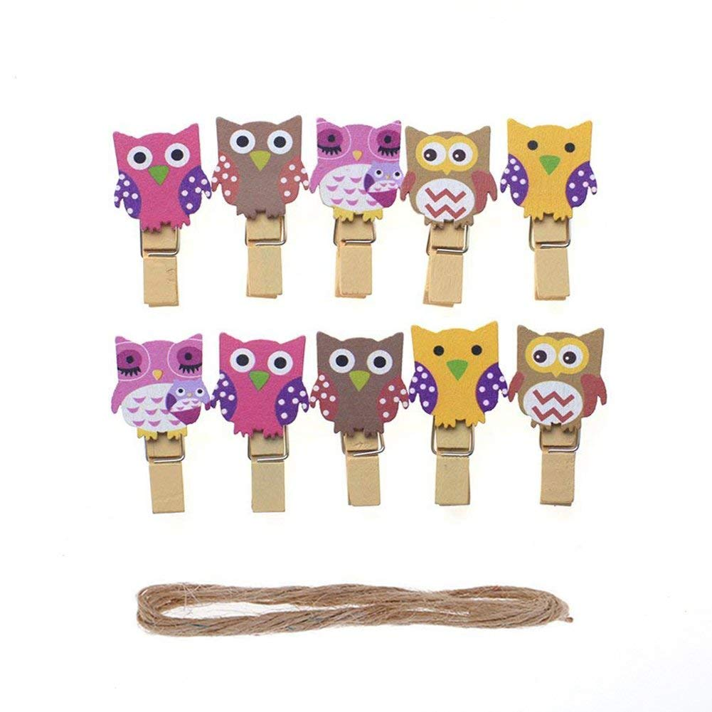 Vpang 50 Pcs Mini Natural Wooden Cute Owl Design Clothespins Photo Paper Card Peg Pin Craft Clips with Jute Twine