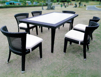 Outdoor Rattan Plastic Wood Composite Patio Furniture 7 Pcs Cube Dining Set For Home