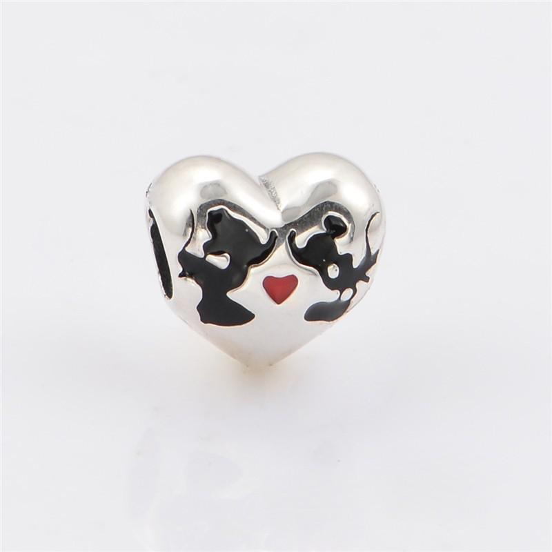 53e90d433 Original 925 Sterling Silver Mickey Minnie Heart Charm Pendant Fits Pandora  Charms Bracelet DIY Jewelry Making