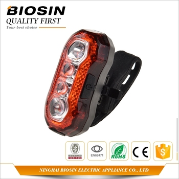 BIOSIN 5 modes 60lumen built-in 630mah li-ion polymer battery abs plastic 4red led bicycle rear light