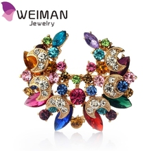 2016 Lovely Crystal Fashion Women Wedding Brooch Hijab Pins Jewelry large Flower Brooches