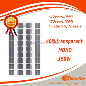 Shinefar best price BIPV 40%transparent double glass solar panels MONO 150w