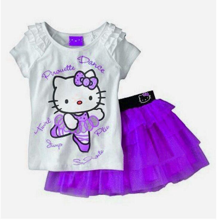 49d680e7c Get Quotations · 2016 fashion brand Girls skirt suit hello kitty cartoon  short-sleeved t-shirt +