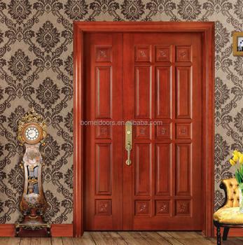 Home Design Beautiful Solid Wood Carving Unequal Double Door - Buy on