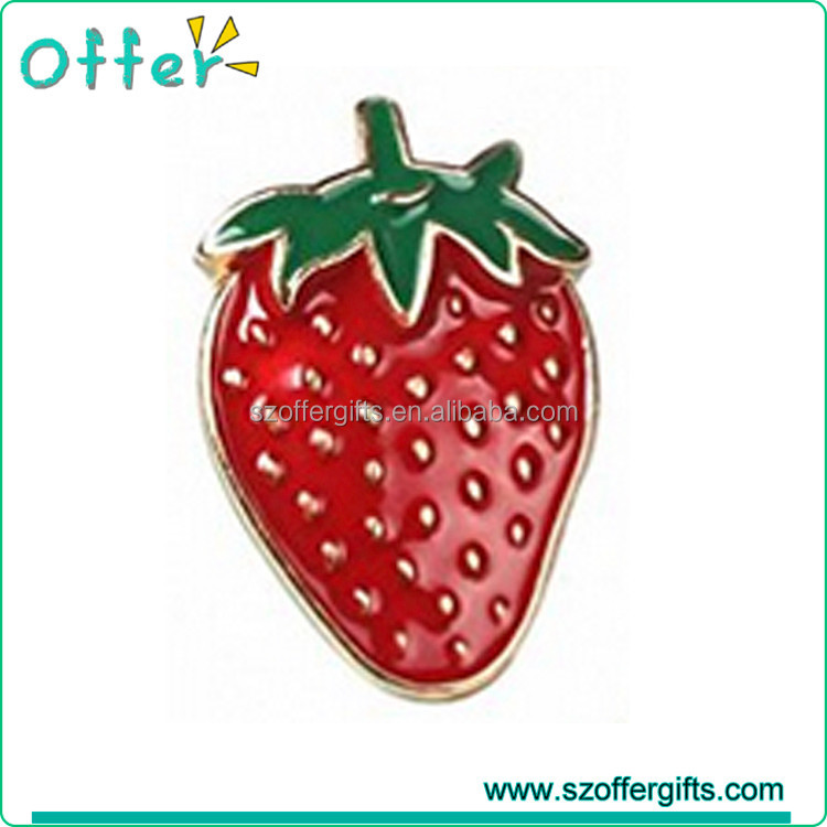 Offer Custom Fruit Strawberries Metal Enamel Lapel Pin
