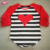 Youth Girls Valentines Day Shirt Knitted Cotton 3/4 Sleeve Length Icing Ruffle Sleeve Heart Raglan T Shirts