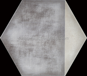 175x200mm White and Grey Hexagon Tiles Ceramic Floor Using