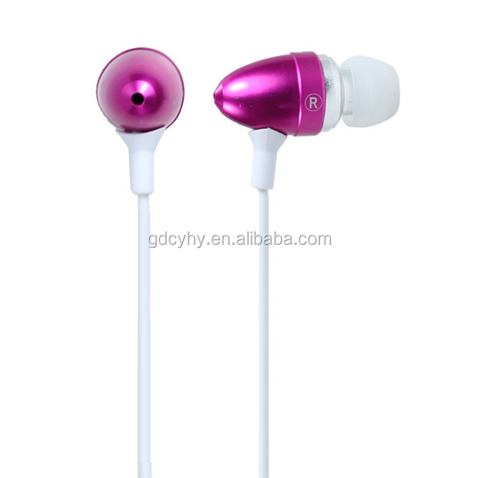 Best fashion earphone,metal earbud,earphone with mic for mobile phone bullet shape