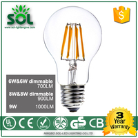 High quality 4w 6w 8w dimmable led filament lamp with ce RoHS UL