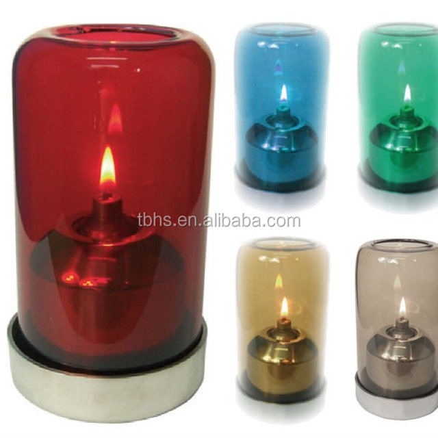 Elegant Aurora Colorful Glass Shade Stainless Steel Decoration Oil Candle Table Lamp