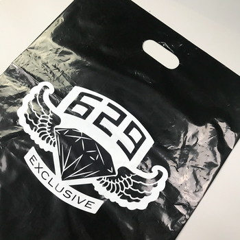 custom bulk merchandise plastic bags with die cut handles