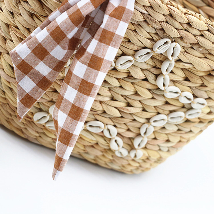 RKY0730 New summer style shell star gourd grass woven bag woven pp beach bag straw rattan tote bag-4